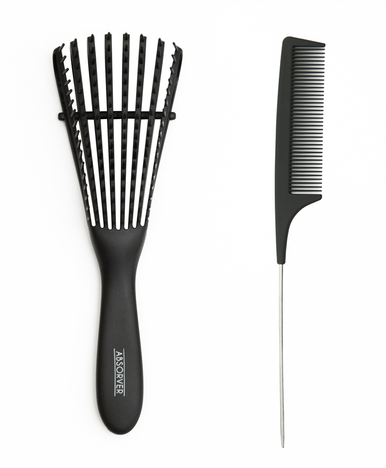 Absorver Detangler Brush and Metal Rat Tail Comb Hair Set